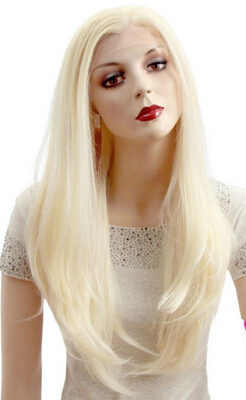 002293 Blonde Long Straight Lace Front Wig Hair Heat Resistant New Cosplay Wigs