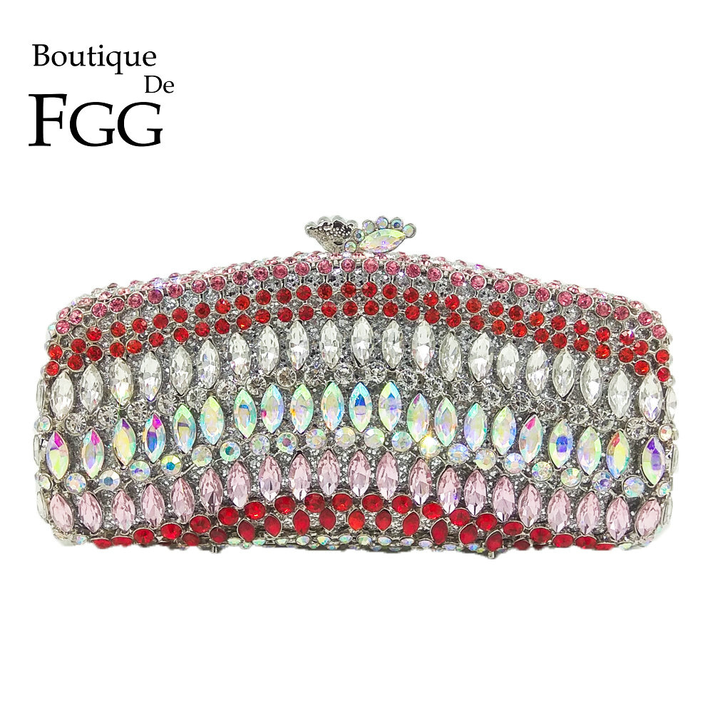 Boutique De FGG Dazzling Multi Color Crystal Evening Clutches Purse For Bridal Wedding Handbag Women Metal Minaudiere Clutch Bag купить в Москве 2019