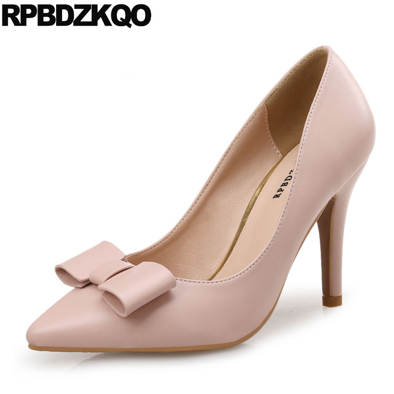 2018 High Heels Bow Beige Size 33 Pointed Toe Cute 4 34 Green Shoes For Women Scarpin Nude Big Pumps Korean 3 Inch Medium цена и фото