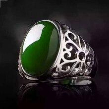 Max tamaño anillo de hombre de plata 12*16mm 10ct anillo de jade verde natural para hombre sólido 925 plata esterlina anillo de jade mejor regalo para hombre