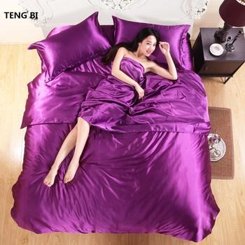 HOT! 100% pure satin silk bedding set,Home Textile King size bed set,bedclothes,duvet cover flat sheet pillowcases Wholesale