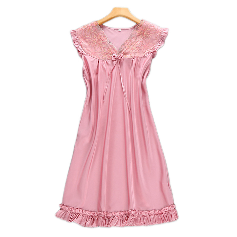 Sexy Pink satins chiffon lace nightdress women spaghetti strap nightwear satins nightgowns pyjamas ladies dress sleepwear