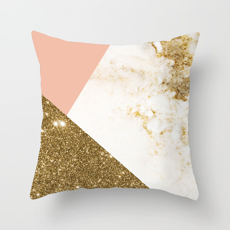 Image 4 - Nordic Simple Pink Marble Geometric Cushion Cover Peach Velvet Decorative Throw Pillowcase Home Decor Living Room Decoration-in Cushion Cover from Home & Garden