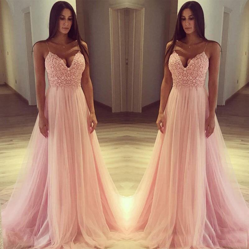 2019 A-Line Spaghetti Straps Beading Pink Tulle Sweep Traindress for wedding party vestido boda mujer invitada   bridesmaid     dress