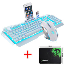 Technology M398 Wired LED Backlit Ergonomic Usb Gaming Keyboard Mouse Combo illuminated 2000DPI Optical Mouse Sets + Mouse Pad