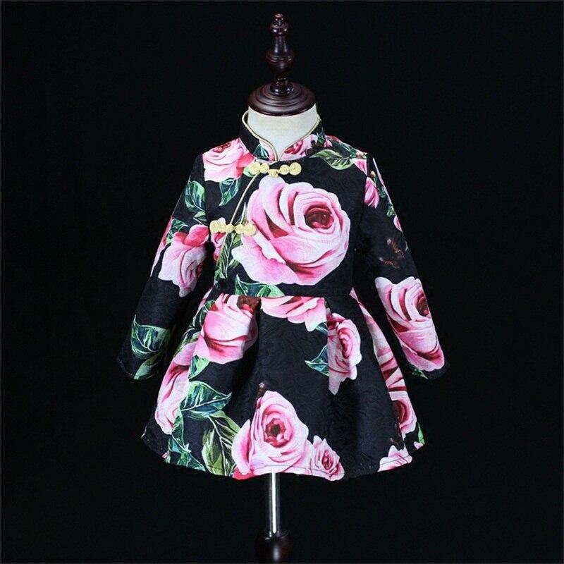 Automne noir rose jacquard femmes hiver enfants robe bébé fille chinois cheongsam maman et fille robe famille correspondant tenue