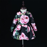 Autumn black rose jacquard Women Winter children dress baby girl Chinese cheongsam mom and daughter dress family matching outfit