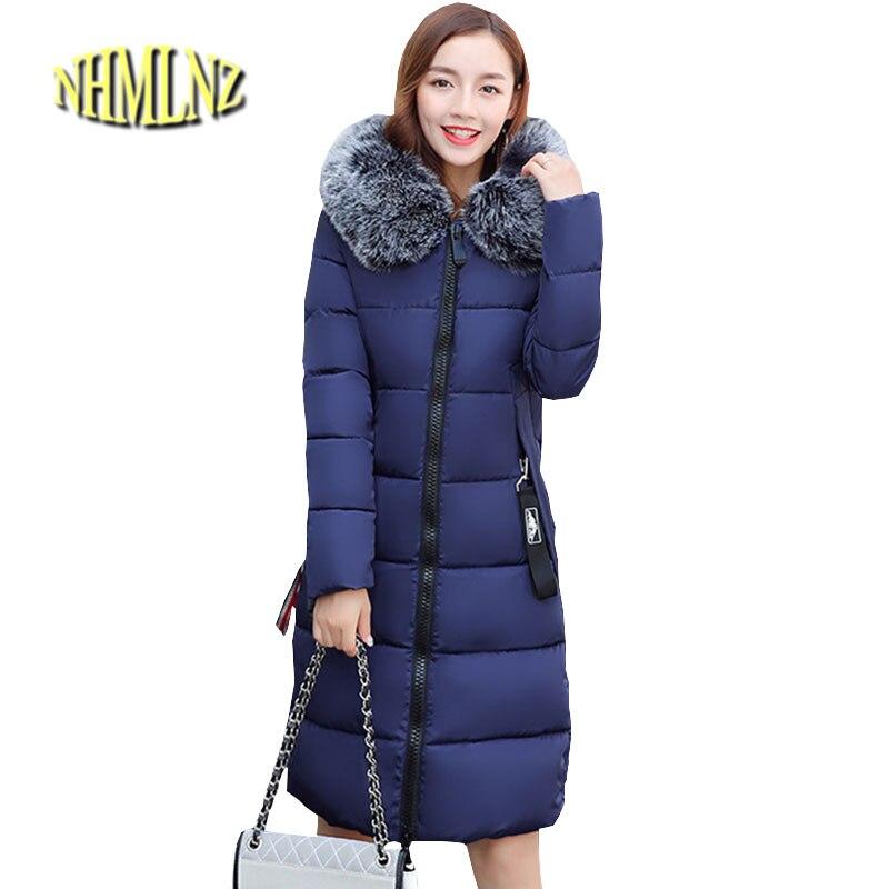 Plus size Women Winter Jacket Chinese Style Cotton Coat Heavy hair collar Hooded Jacket Elegant Slim