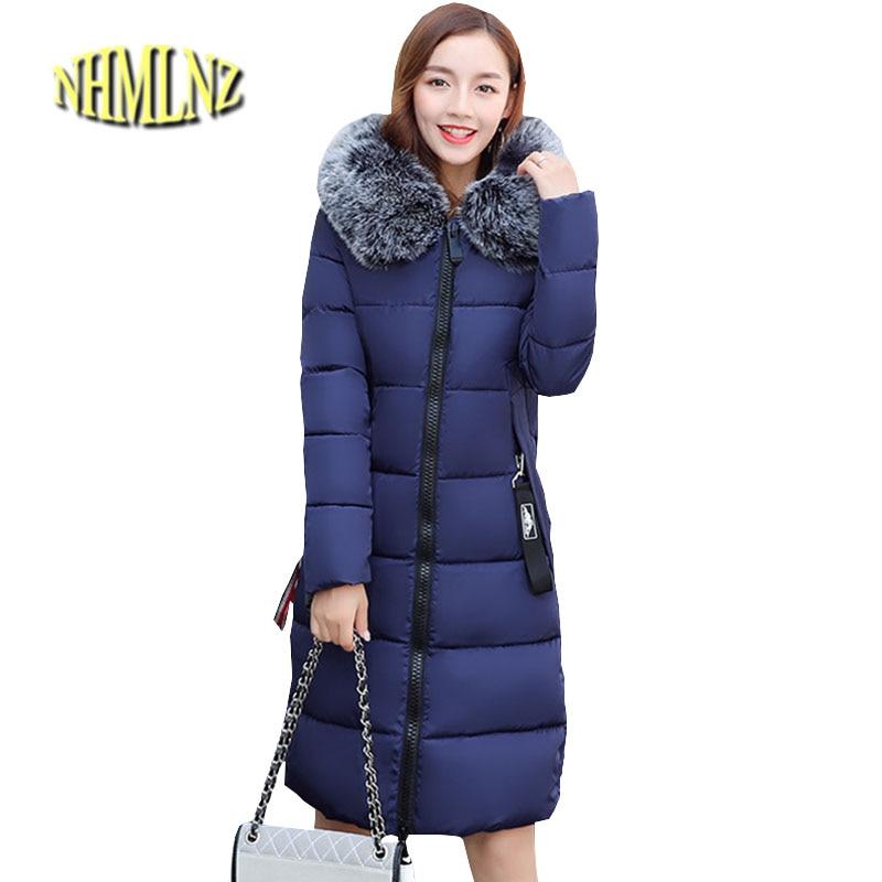 Plus size Women Winter Jacket Chinese Style Cotton Coat Heavy hair collar Hooded Jacket Elegant Slim Thick Warm Overcoat ok281