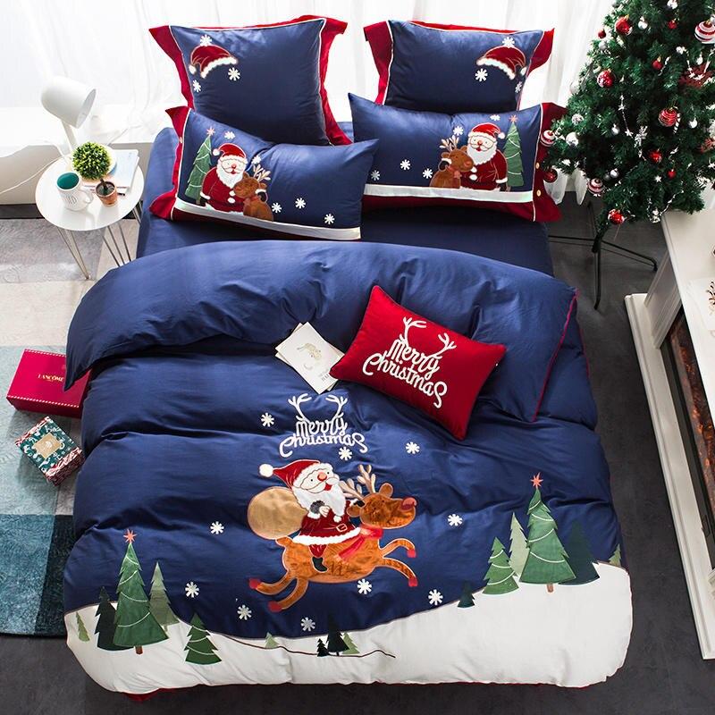 Twin Queen Size Christmas Bedding Set 100%Cotton Bed Set Duvet Cover Bedsheet Fitted Sheet Blue Pink Parrure De Lit Ropa De Cama