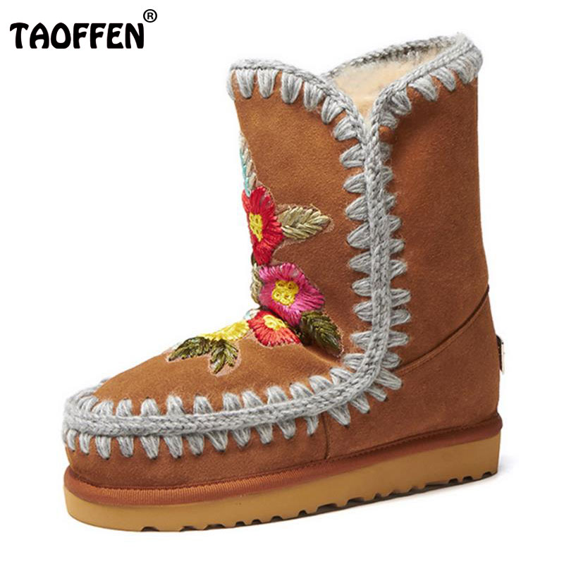 цены TAOFFEN Size 32-43 Women'S Winter  Real Leather Snow Boots Female Embroidery Flower Warm Fur Inside Thick Platfrom Flat Botas