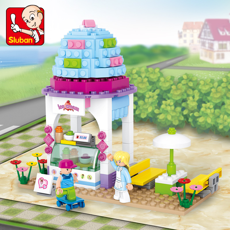 205pcs little Small Luban building blocks Girl series ice cream shop toys for children Compatible Lego mini Educational lepin