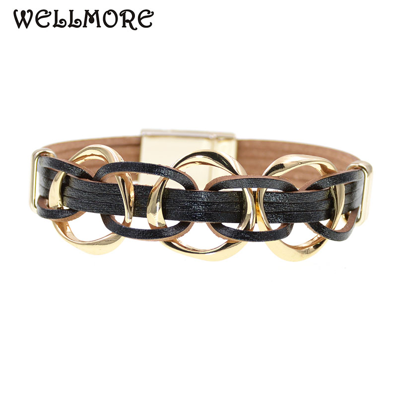 WELLMORE metal charm Leather Bracelets For Women Men's Multiple Layers wrap Bracelets Couple gifts fashion Jewelry dropshipping