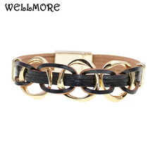 WELLMORE metal charm Leather Bracelets For Women Mens Multiple Layers wrap Couple gifts fashion Jewelry dropshipping