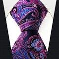 Q15 tamanho Extra longo Azul Rosa Paisley Gravata Dos Homens Gravatas 100% Seda Tecido Jacquard Nova Marca de Moda