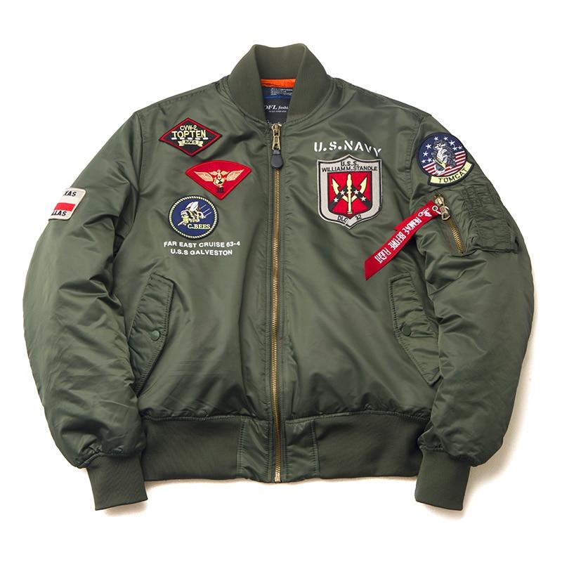 Image 2 - 2019 Winter Vintage Top Gun streetwear hip hop military coats clothes letterman punk bomber flight air force pilot jacket men-in Jackets from Men's Clothing