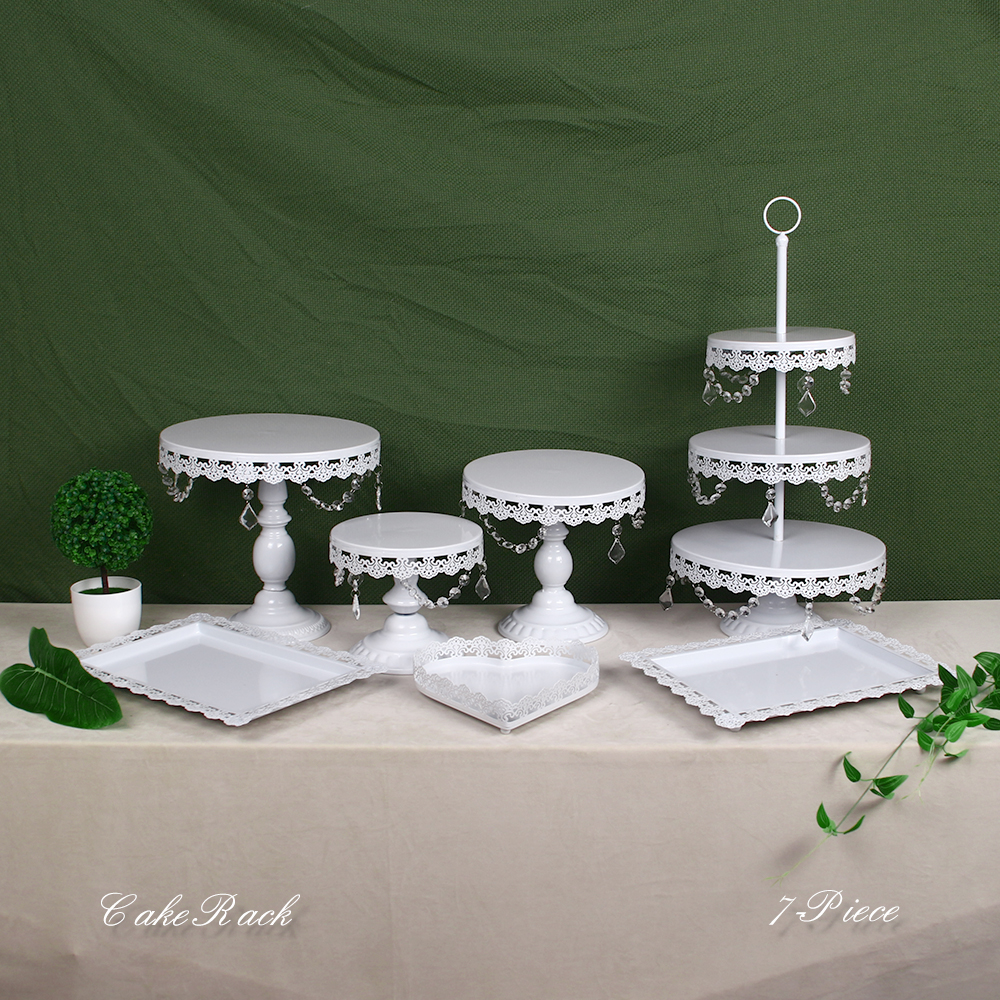 White Gold Crystal Pearl Metal Cake Stand Cupcake Dessert Serving Rack Holder Party Wedding Banquet Table Decorations image
