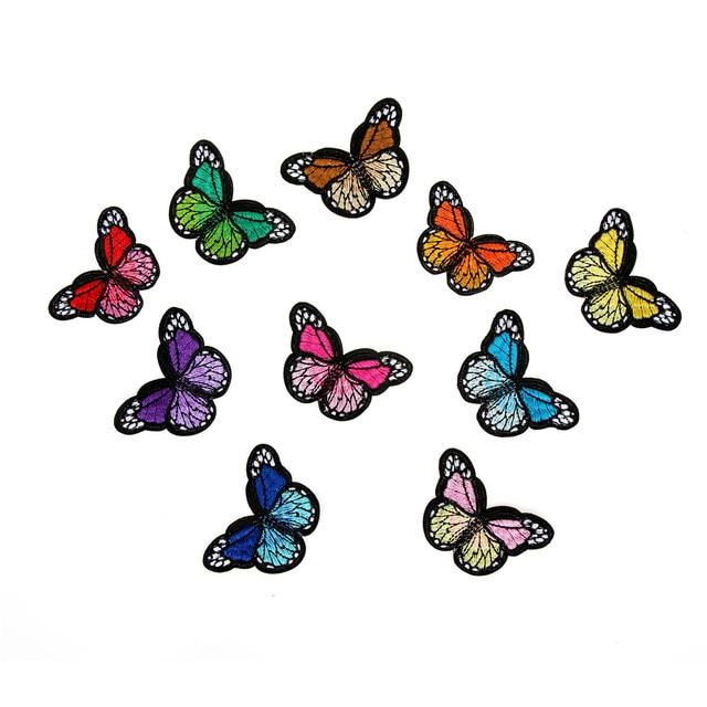 10個刺繍蝶縫う綿パッチバッジ刺繍織物アップリケdiy服アクセサリーバッジステッカー