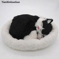 26x17cm black sleeping cat hard model polyethylene&furs breathing cat prop,home decoration toy gift s1809
