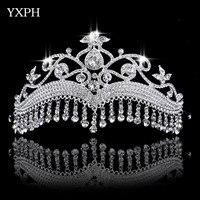 Joyas de Compromiso de boda Tiara Princess Crown Boda Moda Nupcial Coronas Gota Colgante de Cristales de Pelo Accesorios Hairwear