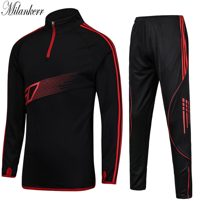 Football Jersey Sets Men Basketball Training Tracksuits Sports Long Sleeve  Jacket Trousers Kits Autumn Winter Adults Sportswear 0fa041a12