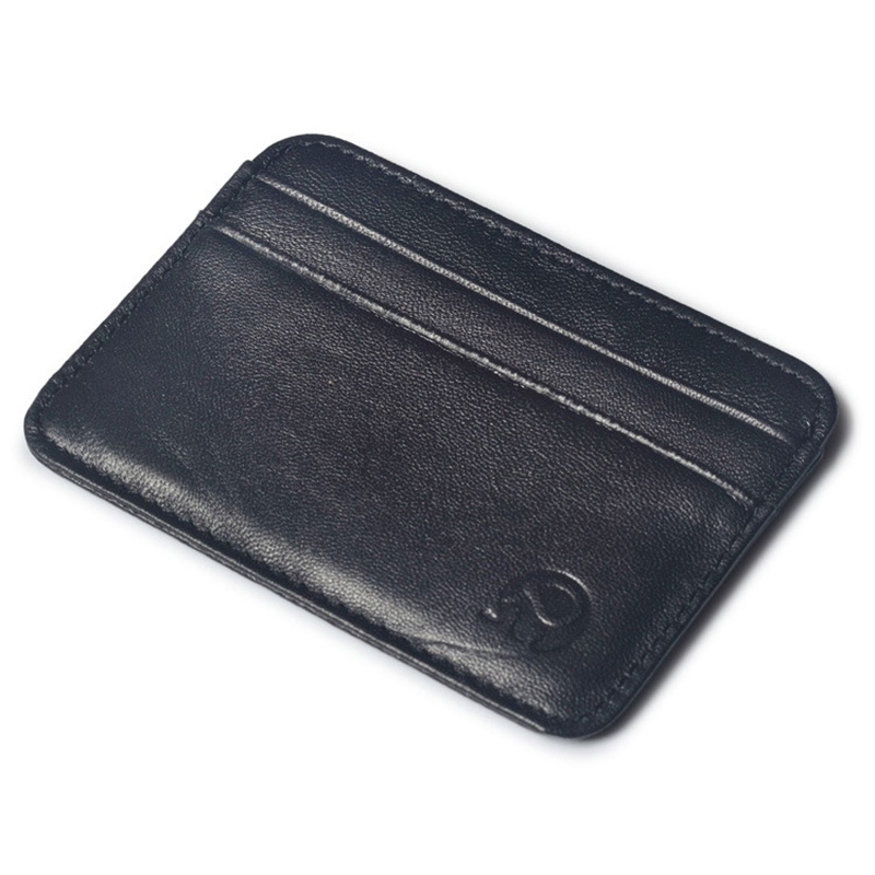 5 Card Bits Credit ID Card Holder Soft Sheepskin Genuine Leather Vintage Wallet for Credit Cards Black Color Cardholder Men ...