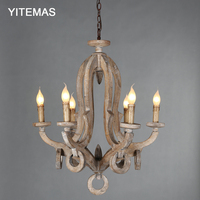 Retro vintage wooden chandeliers american style 6 light french hanging chandelier lighting fixtures for dining room bedroom