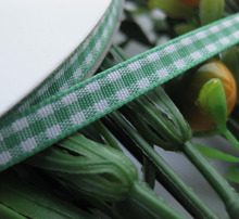 2/8″ 6mm tartan plaid ribbon bows appliques craft/sewing/doll Green 50Yard