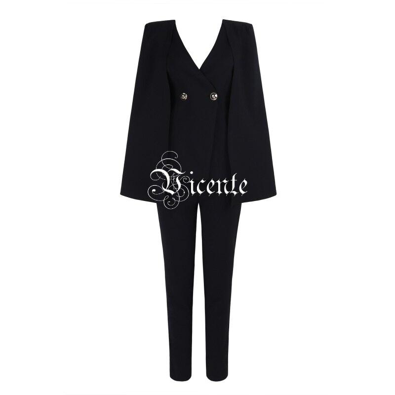 Pantalon Conception Manteau 2019 Manches De noir Sexy Chic Blanc Hauts Bouton Nouvelle Pièces Blanc Fête Soirée Deux V Chaude Costume cou Vicente Star S0R8q