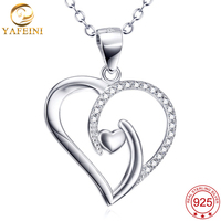 YFN Top Quality 925 Sterling Silver Jewelry Crystal Half Heart With Glaze Half Heart Link A