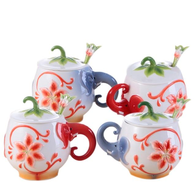 1piece Best 3d Cute Enamel Porcelain Elephant Mug With Head Animal Ceramic Coffee Cartoon Mug Whit