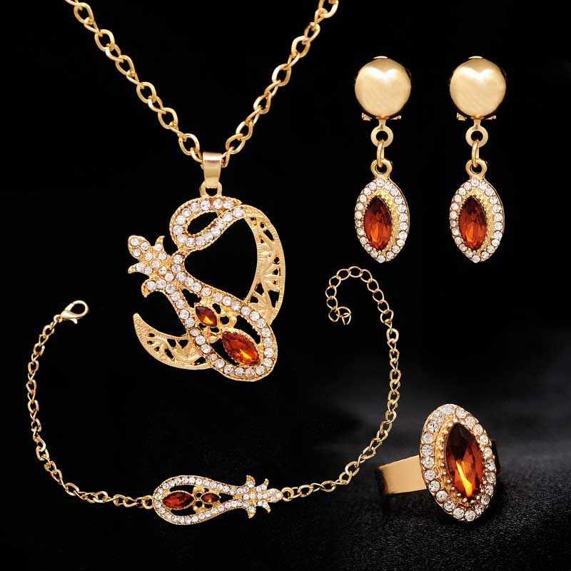 ขายส่งทองสีแดง CZ จี้และสร้อยคอต่างหูสร้อยข้อมือแหวนสแตนเลสแอฟริกันงานแต่งงานเจ้าสาวเครื่องประดับชุด