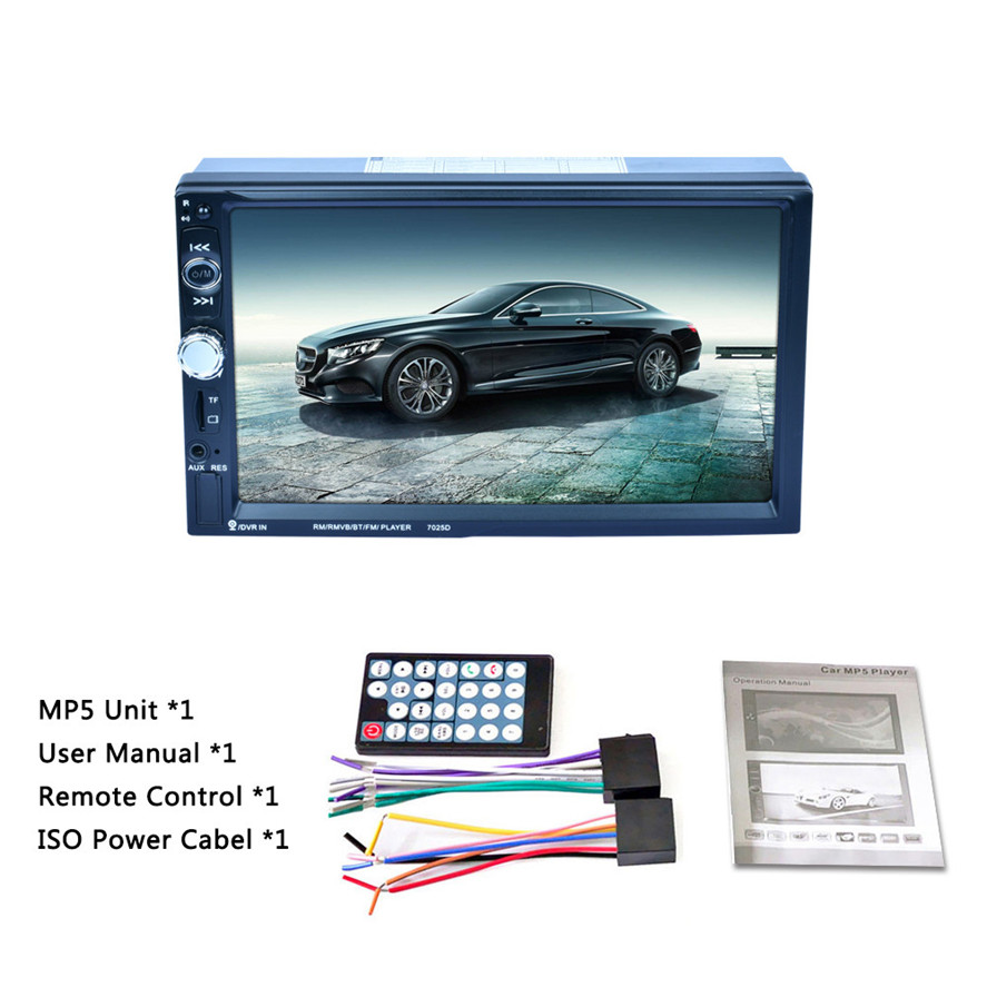 2017 New multi-language Double 2 DIN Car 7 MP3 MP5 Player Stereo FM Radio Player Bluetooth USB AUX Touch Screen 720P Resolution joyous j 2611mx 7 touch screen double din car dvd player w gps ipod bluetooth fm am radio rds