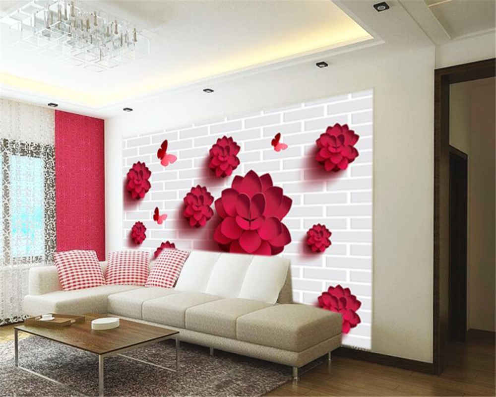 Moderne woonkamer achtergrond decoratie 3d behang bakstenen muur