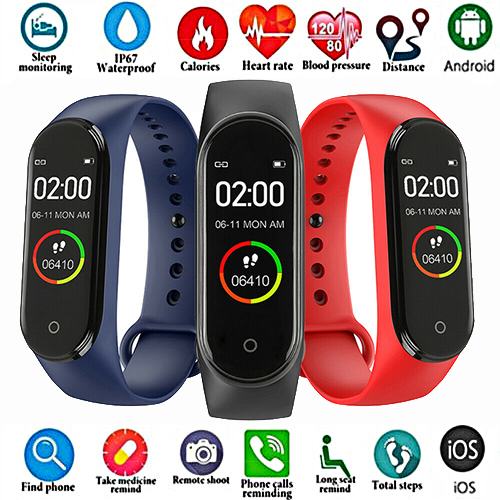Sport-Watch Bracelet Monitor Tracke Blood-Pressure-Monitor M4 Band Heart-Rate Fitness