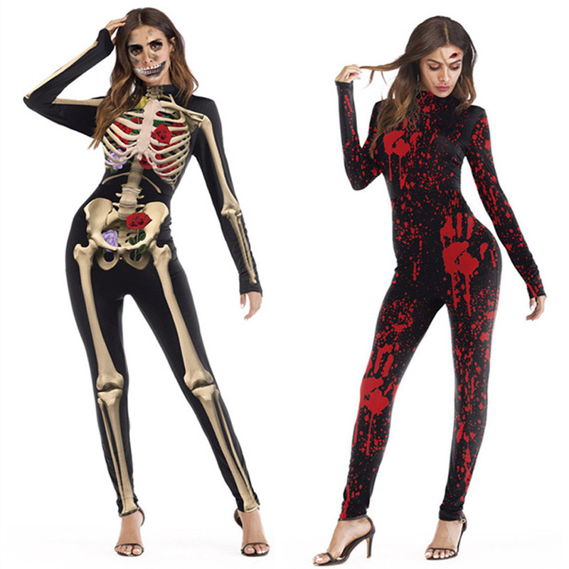 Cosplay Halloween Horror Party Costume Zombie Vampire Blood Print Witch Ghost Skinny Jumpsuit Adult Women Bodysuit fancy Costume