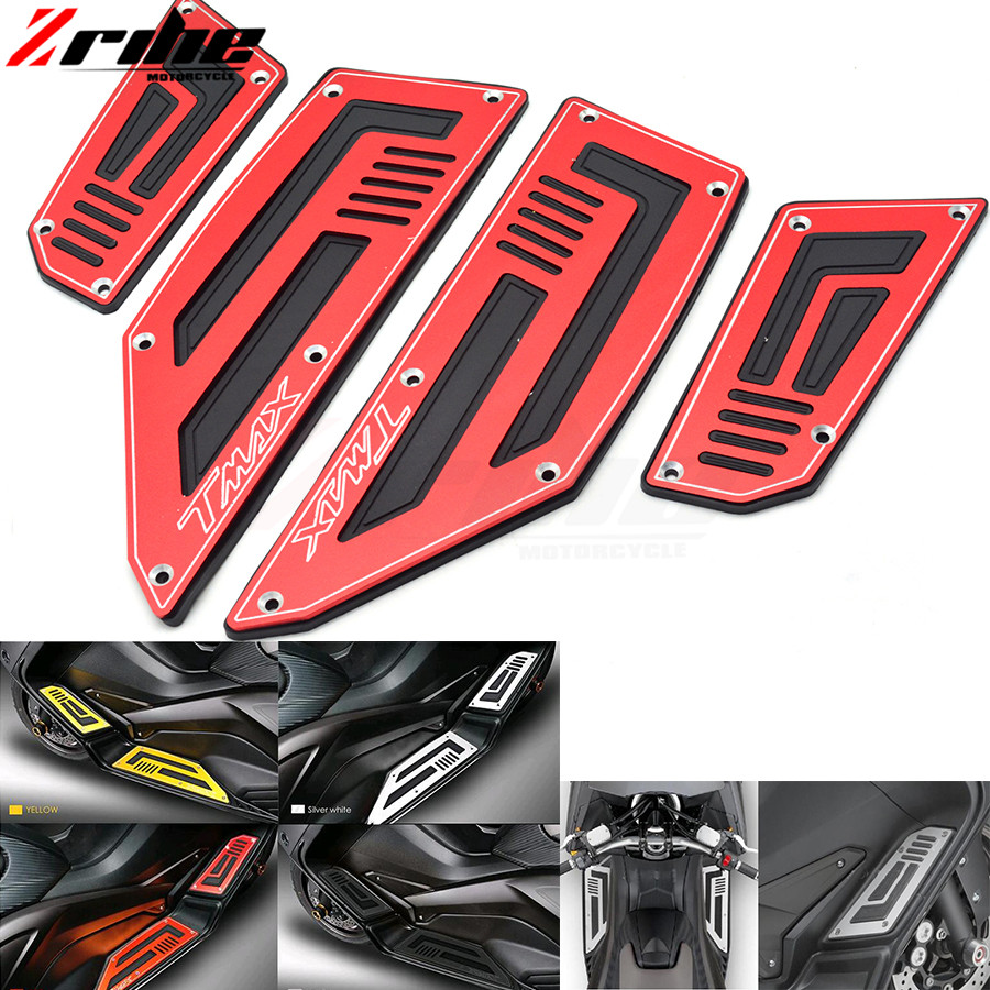for Yamaha T-Max 530 TMax 530 TMax530 SJ09 2012 2013 2014 2015 4 Pieces Front & Rear Motorcycle Footboard Steps Foot Pegs Plate cnc aluminum motorcycle rear passenger foot pegs pedals footrests for yamaha tmax 500 tmax 530 t max500 t max530 t max mt07 mt09
