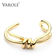 VAROLE elegancki węzeł bransoletka mankietowa złoty kolor bransoletki dla kobiet bransoletki biżuteria hurtowych Pulseiras