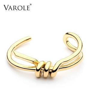 Image 1 - Varoleエレガントなノットカフブレスレットゴールドカラー女性バングルジュエリー卸売pulseirasため