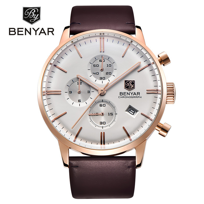 Фотография BENYAR Chronograph Mens Watches Top Brand Luxury Leather Strap Sport Quartz Watch Waterproof Wristwatch for Men erkek kol saati