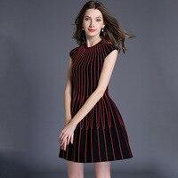 2018 autumn new women lurex chains stripe short sleeved knitted sweater dress red black