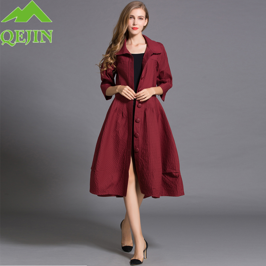 4be6272999 Mujeres trench coat otoño señora capa de polvo de la moda media manga  turn-Down collar color sólido windbreaker solo botón CAPA