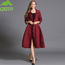 Women trench coat Autumn lady fashion Dust coat Half sleeve Turn-down collar Sol