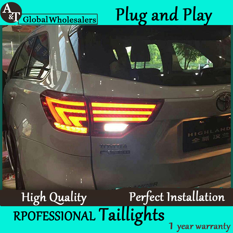 A&t car styling for new highlander taillights 2015 kluger led tail lamp lexus type rear lamp drl+brak