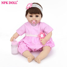 NPK Doll Newest Reborn Baby Doll kids Playmate Gift Accompany Sleep Toys For Babies Realistic Dolls 45cm christmas gift(China)