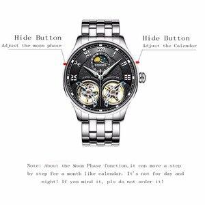 Image 3 - Double Tourbillon Switzerland BINGER Original Mens Automatic Self Wind Fashion Men Mechanical Wristwatch Black Leather Band