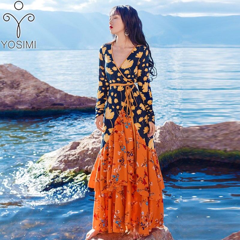 2019 printemps été robe Maxi imprimer longue femmes robe col en v Sexy dame fente plage robe ceinture mince Patchwork femme Vestido fête