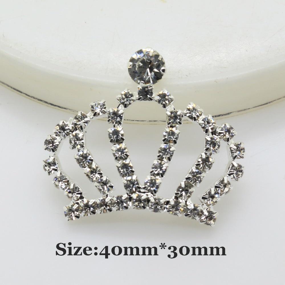 Crown Buttons 10pcs/ 40mm*30mm Silver Diamond Rhinestone Button DIY Wedding Bouquets Decoration Embellishmen Accessories