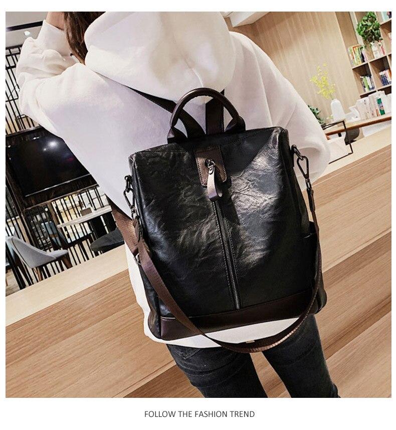 HTB1huEdbhrvK1RjSszeq6yObFXaR Fashion Women High Quality Leather Backpack Multifunction Leatherett Backpack For Female Big Bookbag Travel Bag Sac A Dos XA279H