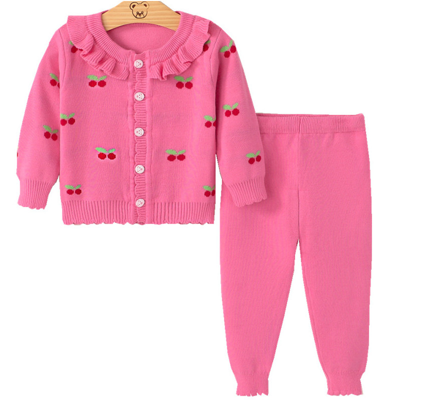 baby autumn winter clothes sets cute Cherry Print Cardigan for infant girls kids warm suit Jacket+pants knits children sweaters autumn winter baby girls boys kids infants cartoon children thermal velvet jackets cardigan sweaters pants clothing sets s3901